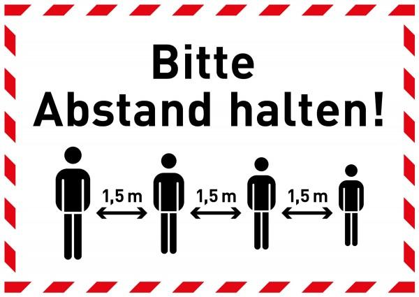 """Aufkleber """"Bitte Abstand halten 1,5m"""""""