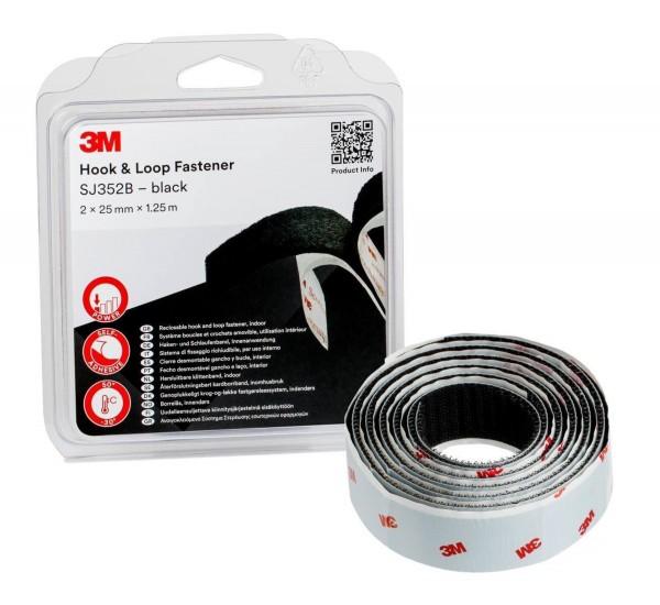 3M SJ352B, Haken-Schlaufenband, 25mm x 1,25m, schwarz