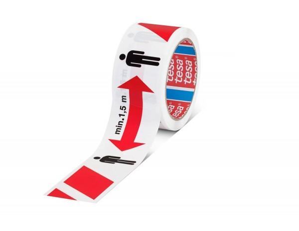 tesa 58263, Markierungsband, 50mm x 50m, rot/weiß