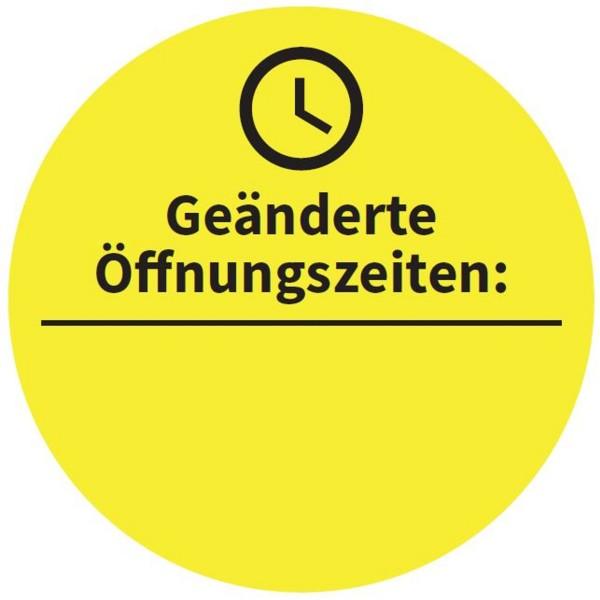 """Aufkleber """"Geänderte Öffnungszeiten"""", rund ⌀ 33,5 cm"""