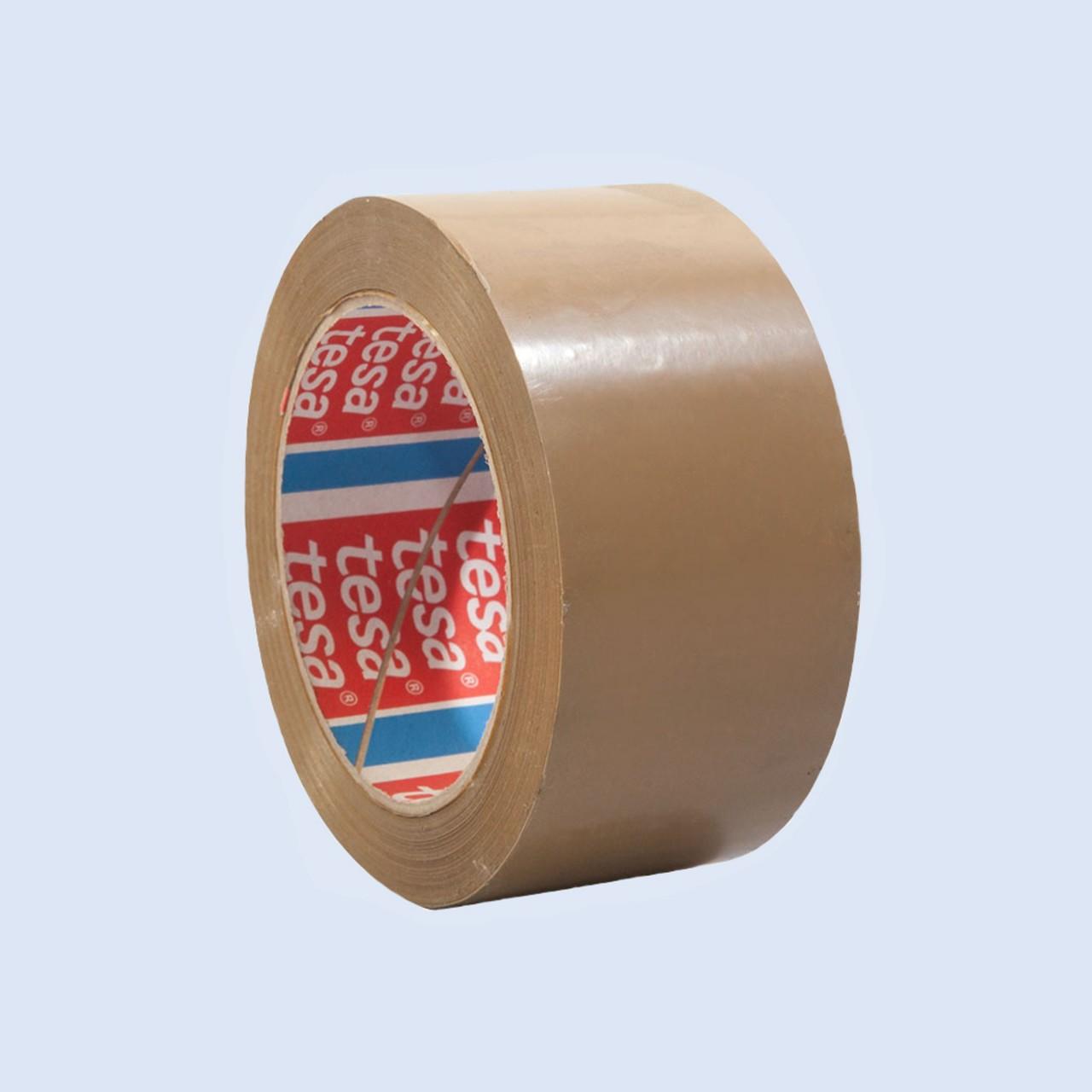 tesapack 4124, PVC-Verpackungsklebeband, 50mm x 66m, braun, seitlich